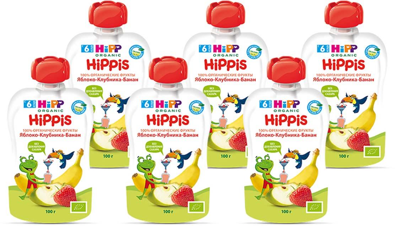 """Hipp пюре яблоко, клубника, банан """"Hippis"""" (пауч), с 6 месяцев, 6 шт по 100 г"""