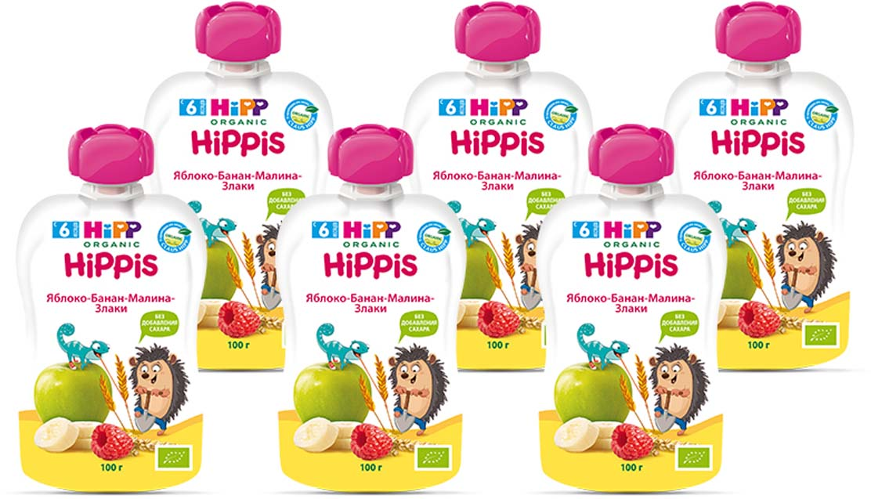 "Hipp пюре яблоко, банан, малина, злаки ""Hippis"" (пауч), с 6 месяцев, 6 шт по 100 г"