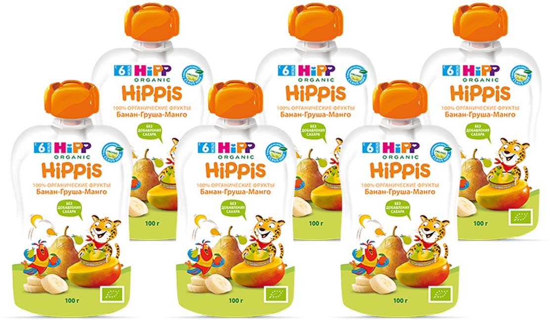 "Hipp пюре банан, груша, манго ""Hippis"" (пауч), с 6 месяцев, 6 шт по 100 г"