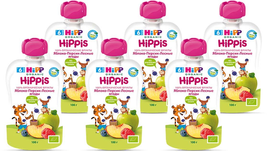 """Hipp пюре яблоко, персик, лесные ягоды """"Hippis"""" (пауч), с 6 месяцев, 6 шт по 100 г"""