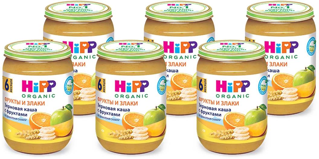Hipp пюре каша зерновая с фруктами, с 6 месяцев, 6 шт по 190 г