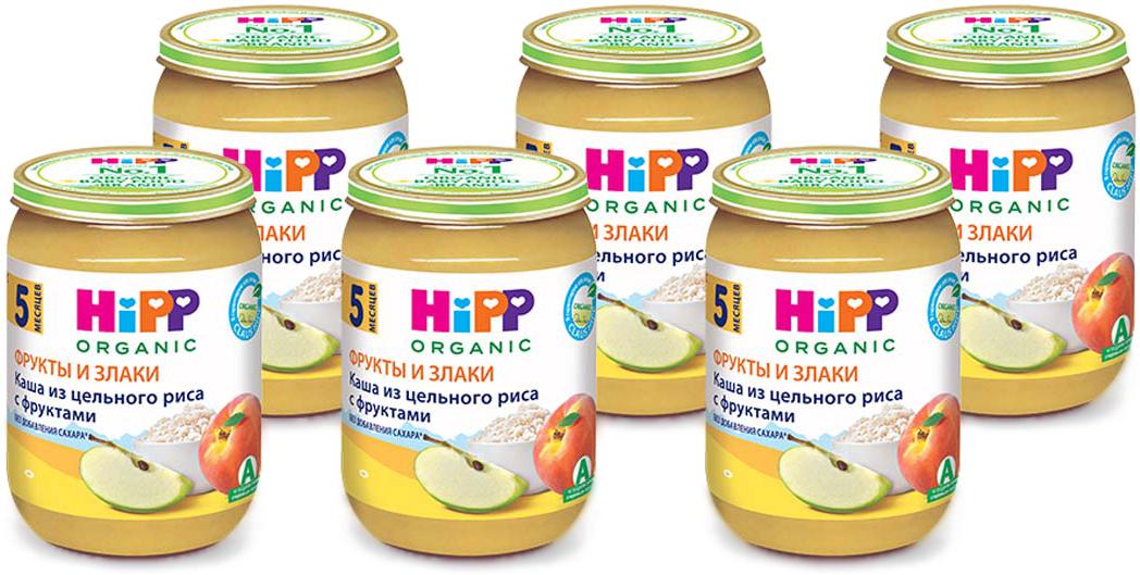 Hipp пюре каша из цельного риса с фруктами, 5 месяцев, 6 шт по 190 г
