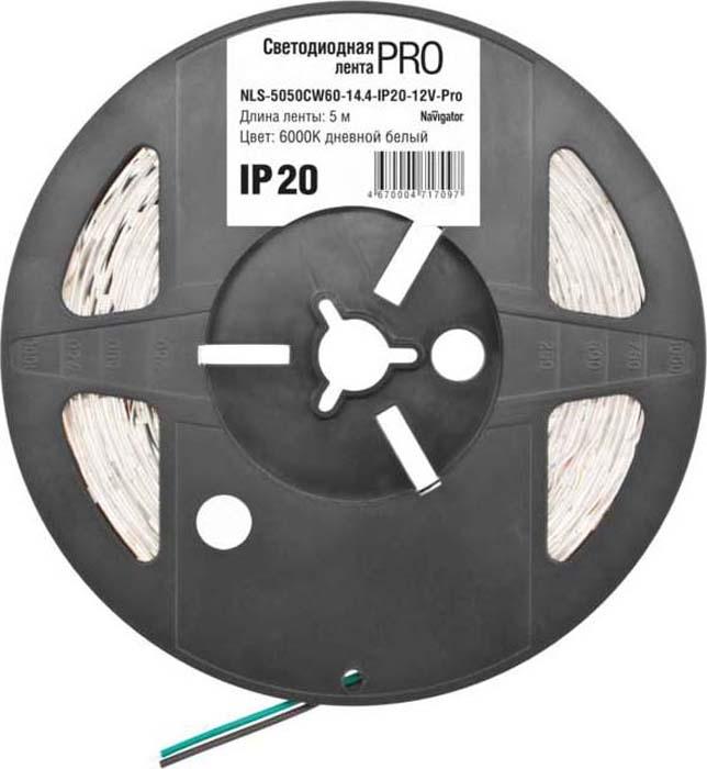 Светодиодная лента Navigator 71 709 NLS-5050CW60-14.4-IP20-12V-Pro R519371Лента светодиодная 71 709 NLS-5050CW60-14.4-IP20-12V-Pro R5 (уп.5 м) Navigator 4670004717097 – средство освещения. Представляет собой полосу длиной 5 м со светодиодами в количестве 60 шт./1 м, с длиной секции 50 мм. Самоклеющаяся, без адаптера подключения. Дает белый свет. Цветовая температура: 6000 К. Применяется в целях декоративного освещения и как способ оформления светодизайна помещений, витрин, фасадов, рекламных щитов.