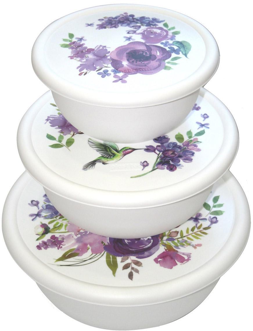 Набор мисок Plast Team Purpur Mix, с крышками, 3 шт неактивный набор емкостей для приготовления и хранения продуктов с крышками голубой муар 18 12 7 14 9 5 см цв у