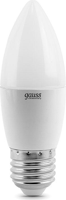 Лампа светодиодная Gauss Elementary, свеча, цвет: белый, 6Вт, 4100К, E27, 450лм, 180-240В. 33226 лампа светодиодная gauss ld53126