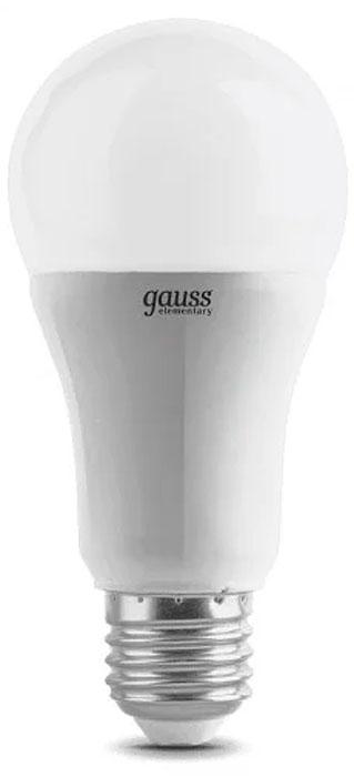 """Лампа светодиодная Gauss """"Elementary"""", грушевидная, цвет: белый, A60, 20Вт, 6500К, E27, 1750лм, 180-240В. 23239"""