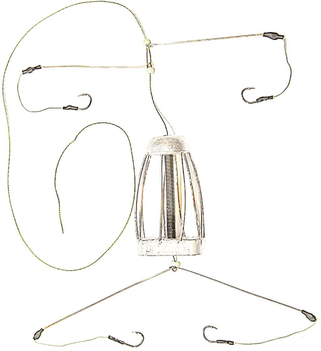 Кормушка для рыбы Монтаж ТК-4, оснащенная коромыслом и 2 отводами, 90 г кормушка пирс оснащенная донная 4 22 35гр несимм петля фидерная