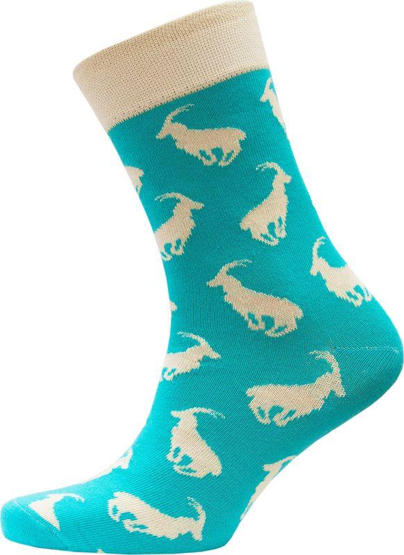 Носки мужские Hosiery Козероги, цвет: изумрудный. 40106. Размер 43/46 (27-29)40106Фантазийные носки произведены из высококачественного гребенного хлопка с небольшим добавлением полиэфира и эластана, которые обеспечивают максимальный комфорт, износостойкость и превосходную посадку. Даже если вы предпочитаете носки классических темных расцветок, время от времени стоит поднять себе настроение, бросив вызов скучным нормам и купить яркие цветные носки, ведь это интересно, стильно, весело. Носите носки, которые будут радовать вас и создавать вам яркое настроение!