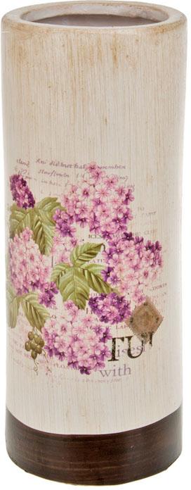 Ваза декоративная ArtHouse Гортензия, цвет: белый, мультиколор, высота 25,5 см60030Декоративная ваза из керамики с изображением гортензии.
