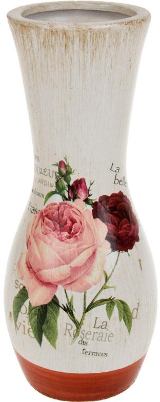 Ваза декоративная ArtHouse Куст розы, цвет: белый, мультиколор, высота 26 см. 60034 ваза декоративная arthouse шоколад цвет коричневый высота 29 5 см