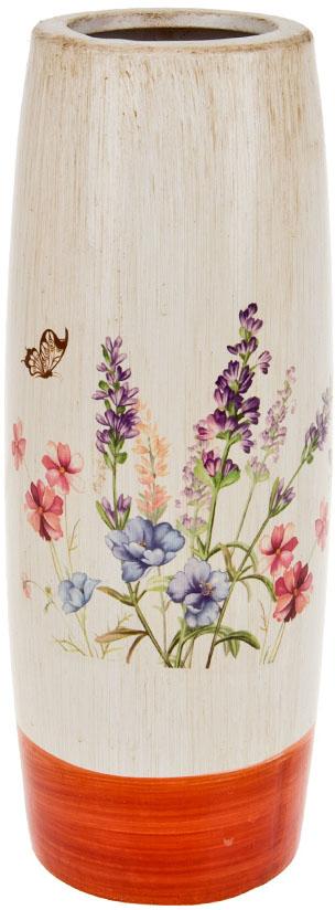 Ваза декоративная ArtHouse Луговые цветы, цвет: белый, мультиколор, высота 30,5 см ваза декоративная arthouse шоколад цвет коричневый высота 29 5 см