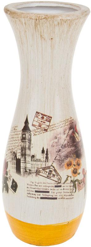 Ваза декоративная ArtHouse Биг Бен, цвет: белый, мультиколор, высота 11 см ваза декоративная arthouse шоколад цвет коричневый высота 29 5 см