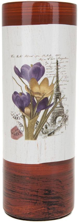 Ваза для цветов ArtHouse Крокусы, цвет: белый, коричневый, высота 25,5 см. 70422 ваза декоративная arthouse шоколад цвет коричневый высота 29 5 см