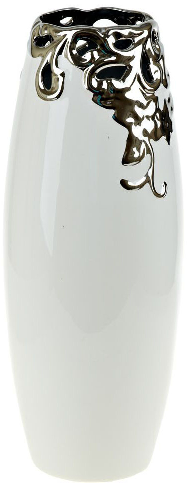 Ваза декоративная ENS Group Серебряный цветок, цвет: белый, высота 38 см ваза декоративная ens group ферма цвет коричневый высота 19 5 см