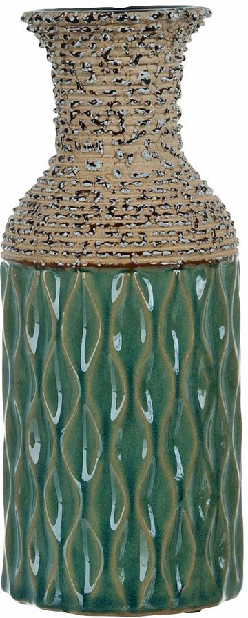 Ваза декоративная ENS Group Кэролайн, цвет: зеленый, высота 23,5 см ваза декоративная ens group ферма цвет коричневый высота 19 5 см