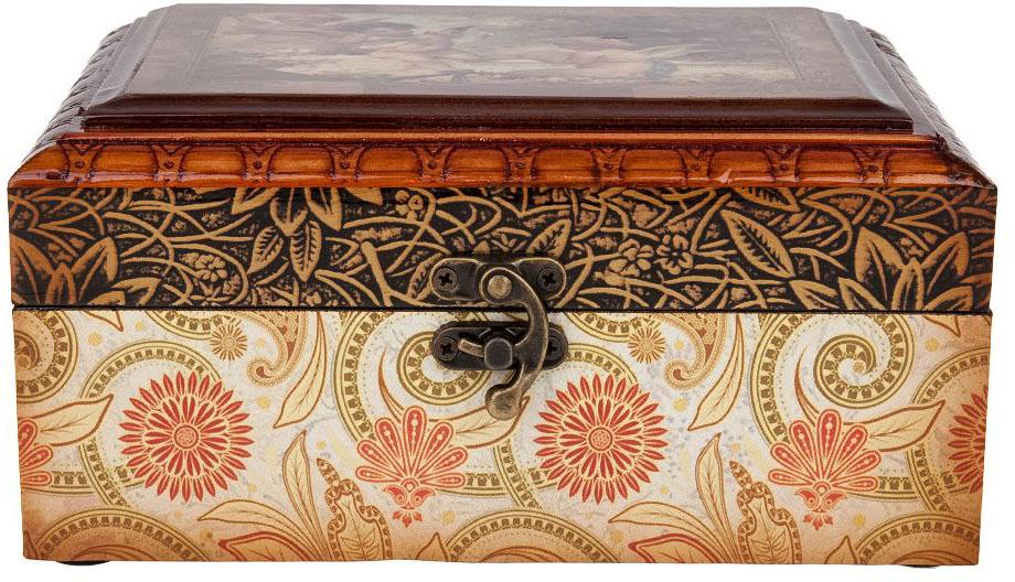 Шкатулка для ювелирных украшений ENS Group Амуры, цвет: коричневый, 19,5 х 15 х 10 см шкатулка декоративная ens group чайная роза 23 5 х 18 5 х 8 см
