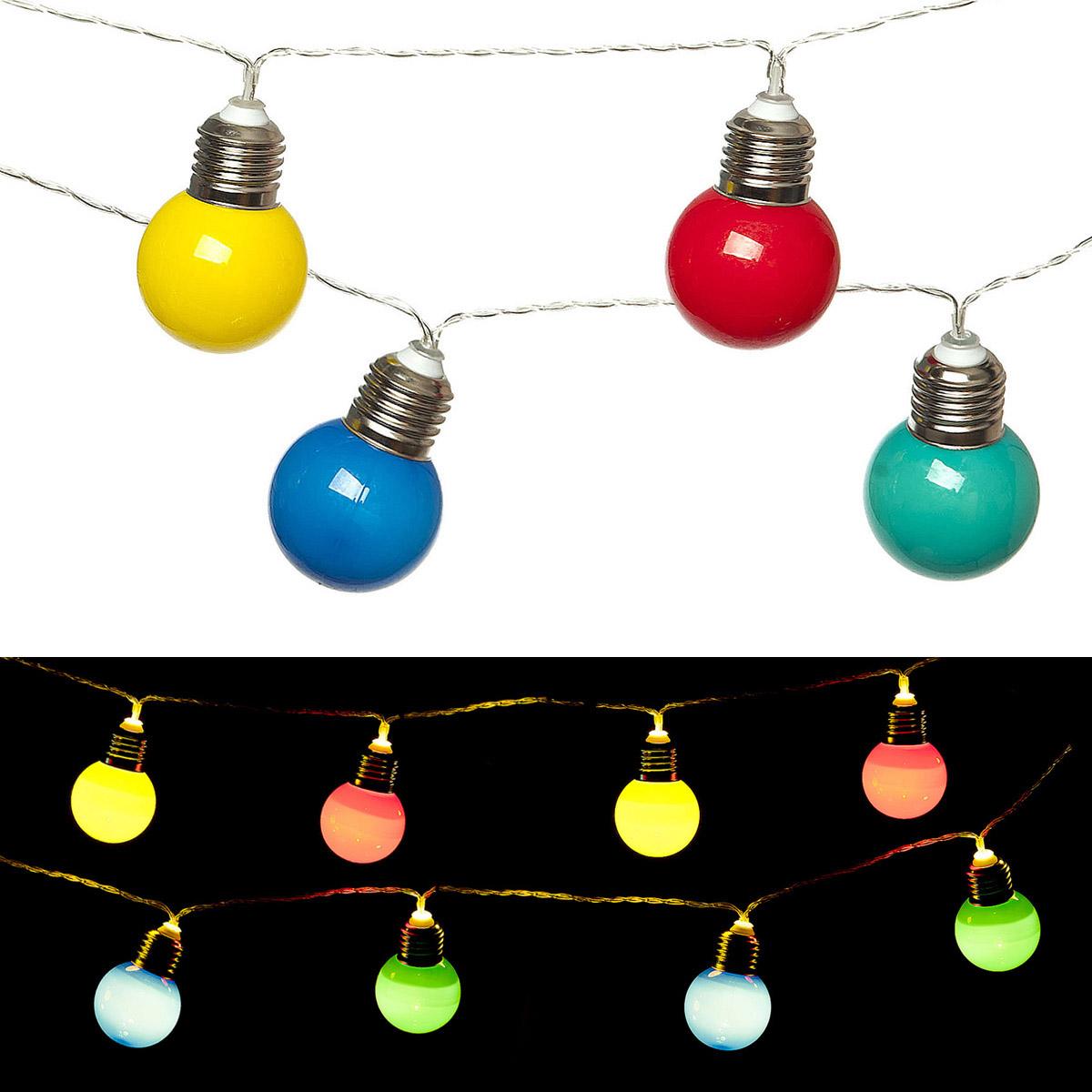 """Светильник Planet Garden """"Разноцветные лампочки"""", 135 см,10 ламп, цвет: разноцветный"""