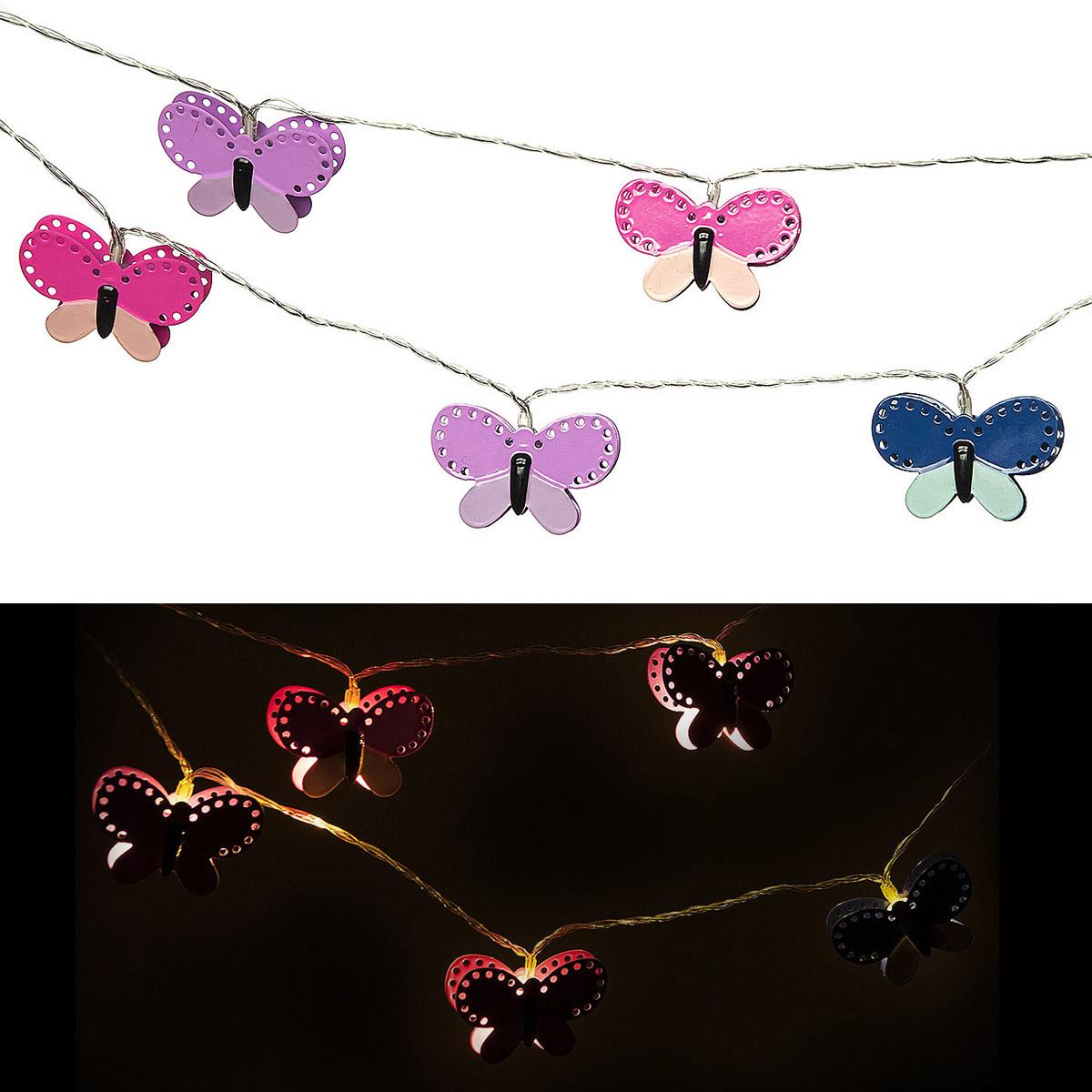 """Светильник Planet Garden """"Бабочки"""", 135 см, 10 ламп, цвет: бирюзовый, голубой, розовый, фиолетовый"""