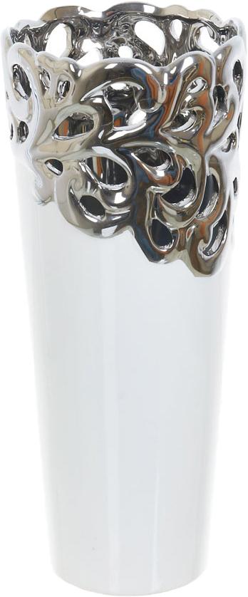 Ваза декоративная ENS Group Серебристое кружево, цвет: белый, высота 33 см ваза декоративная ens group ферма цвет коричневый высота 19 5 см