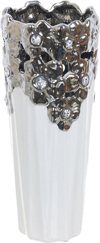 Ваза декоративная ENS Group Серебристое кружево, цвет: белый, высота 32 см ваза декоративная ens group ферма цвет коричневый высота 19 5 см