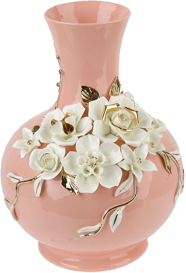 Ваза декоративная ArtHouse Цветочное колье, цвет: розовый, высота 30,5 см ваза декоративная arthouse шоколад цвет коричневый высота 29 5 см