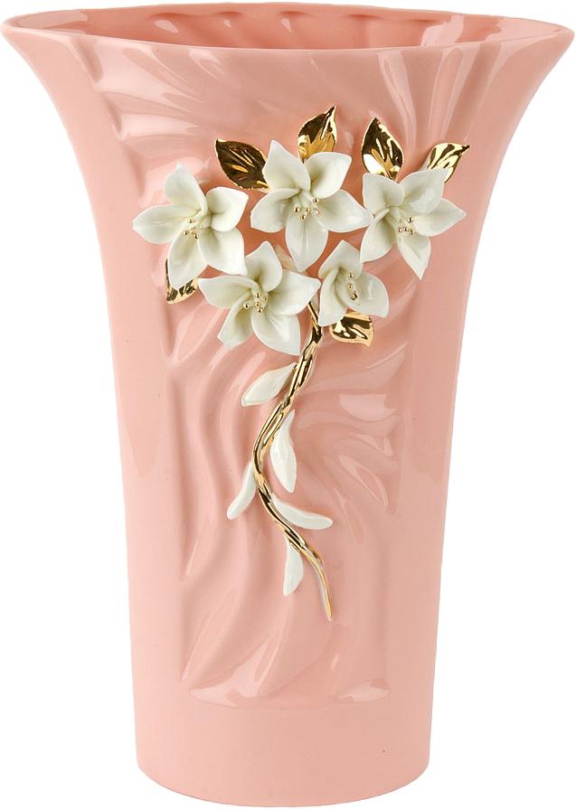 Ваза декоративная ArtHouse Цветочное колье, цвет: розовый, высота 29 см ваза декоративная arthouse шоколад цвет коричневый высота 29 5 см