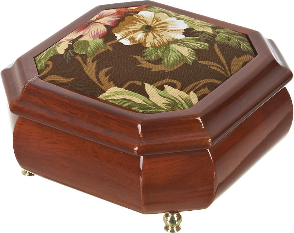 """Шкатулка для ювелирных украшений ArtHouse """"Цветочная поляна"""", цвет: коричневый, 15 х 15 х 8 см. 5800045"""