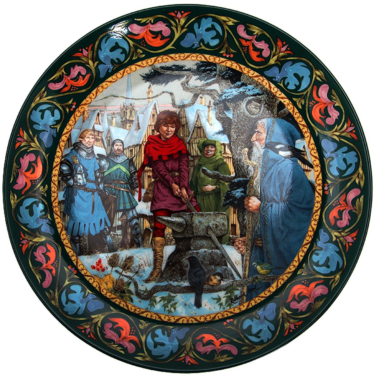 Ричард Хук Артур вынимает меч, декоративная тарелка. Фарфор, деколь. Wedgwood, Великобритания, 1986 год декоративная коллекционная тарелка календарь 1971 фарфор деколь великобритания wedgwood of etruria