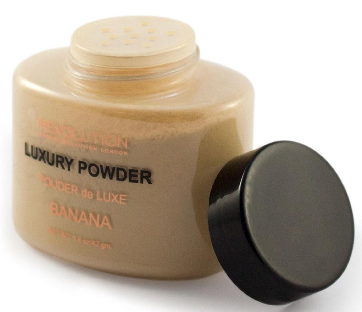 Makeup Revolution Рассыпчатая пудра Luxury Banana Powder91680Пудра для бейкинга в натуральном светло бежевом оттенке с розовым подтоном. Матирует кожу и фиксирует макияж сохраняя ваш безупречный образ в течение дня. Предотвращает появление жирного блеска и продлевает стойкость макияжа. Сглаживает несовершенства и гарантирует бархатистый матовый финиш. Перед применением тщательно встряхните.