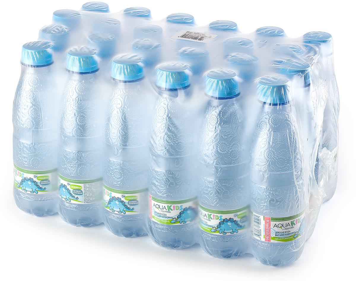 Вода AquaKids детская питьевая с рождения, голубая, 24 шт по 0.25 л вода сказочный лес питьевая детская 12 шт по 0 4 л