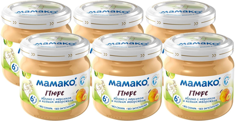 Мамако пюре из яблок с персиками и козьим творогом, 6 шт по 80 г