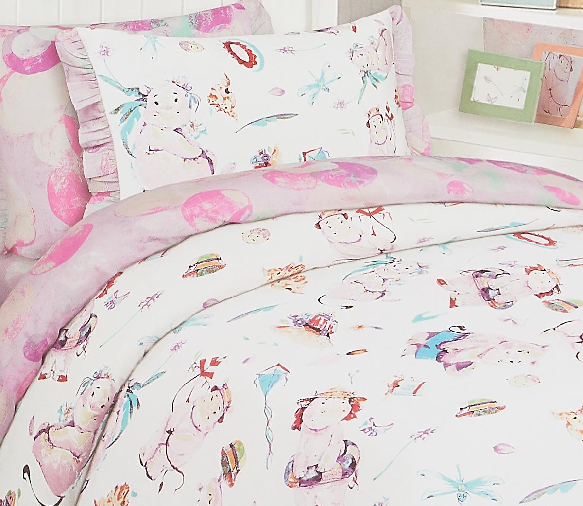 Комплект белья Mona Liza Бегемотики, 1,5 спальный, цвет: белый, наволочка 50х70 см mona liza mona liza плед britta 150х220 см сине красный