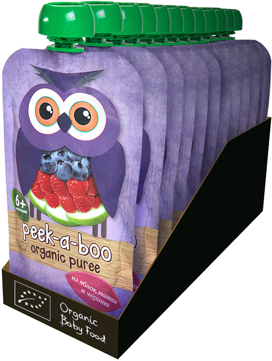 Пюре Peek-a-boo органическое яблоко, малина, черника с 6 месяцев, 12 шт по 113 г