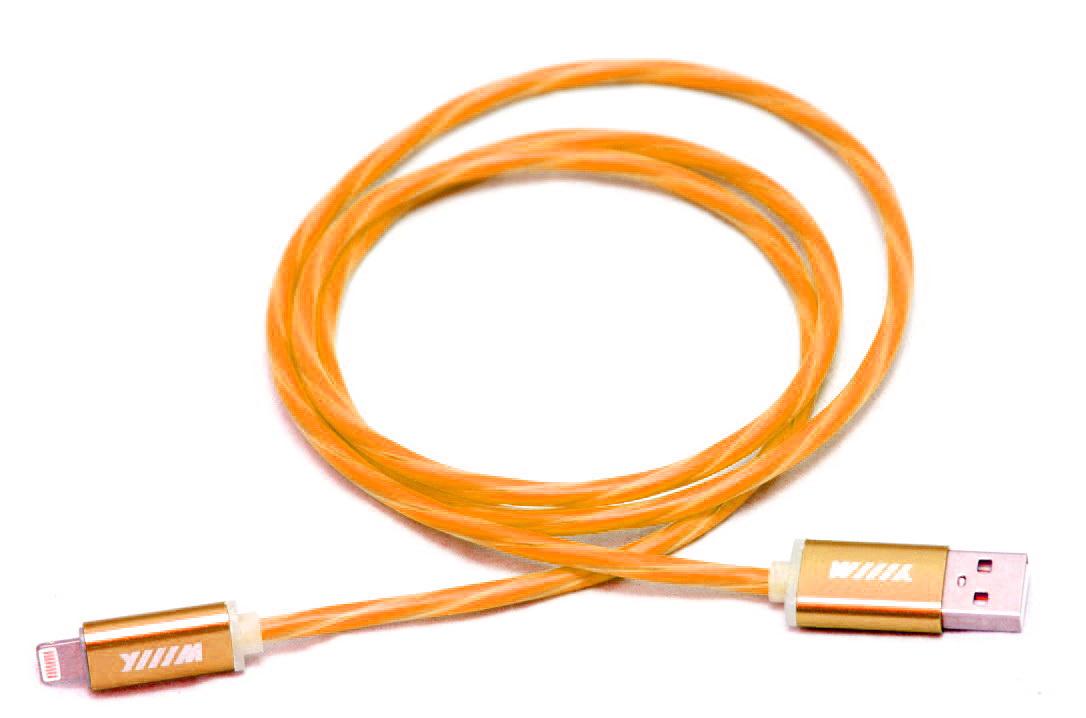 цена на Кабель-переходник Wiiix, светящийся, USB-8pin, цвет: оранжевый, 1 м