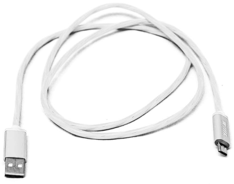 """Кабель-переходник """"Wiiix"""", светящийся, USB-микроUSB, цвет: белый, 1 м"""