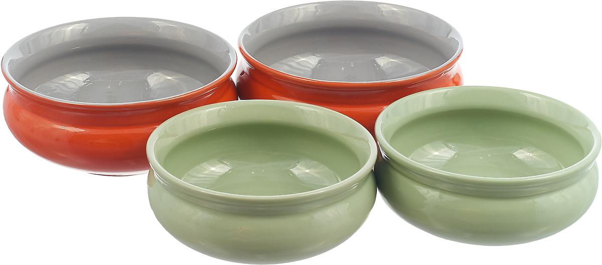 Набор тарелок Борисовская керамика Скифская, ш шт цвет: мятный, оранжевый набор тарелок борисовская керамика скифская цвет серый хаки 4 шт