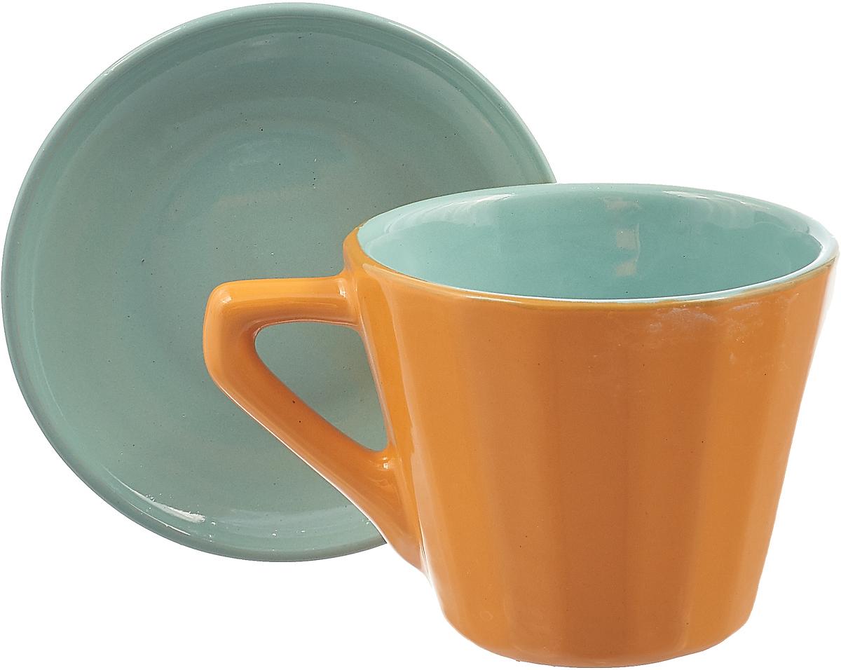 Чайная пара Борисовская керамика Ностальгия, цвет: зеленый, желтый, 200 мл чайная пара борисовская керамика ностальгия цвет темно фиолетовый голубой 200 мл