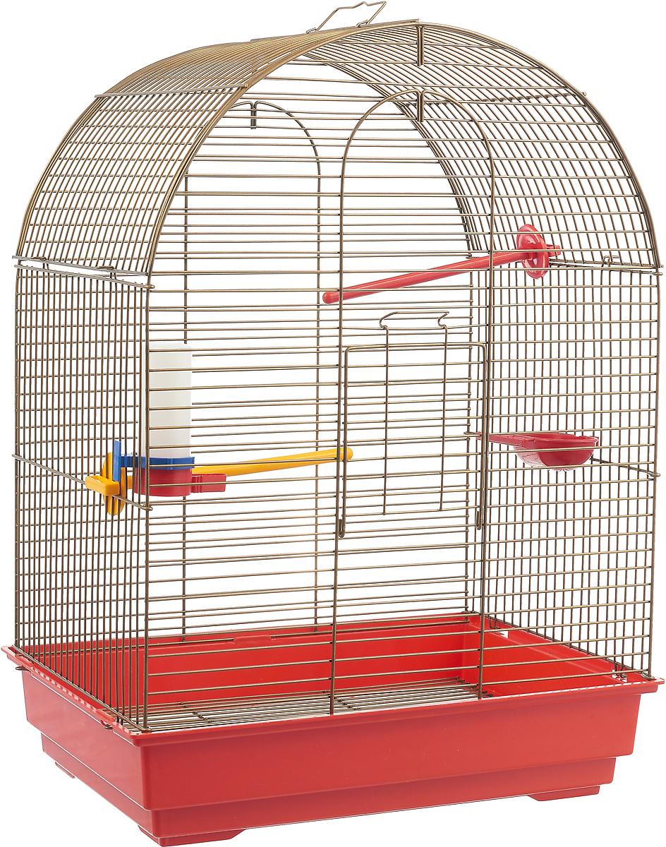 Клетка для птиц Велес Lusy Gold, разборная, цвет: красный, 30 х 42 х 65 см клетка для грызунов велес с полками цвет серый 40 х 58 х 45 см