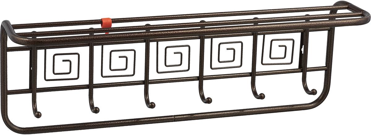 Вешалка ЗМИ, с полкой, 6 крючков, медный антик, длина 72,5 см вешалка надверная зми нота 4 металическая цельносварная четыре крючка цвет медный антик