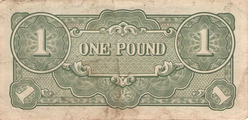 Банкнота номиналом 1 фунт. Японская оккупация Океании. 1942 год