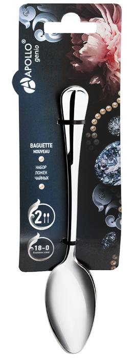 Фото - Ложка чайная Apollo Baguette Nouveau, 2 шт. BGN-52 набор ложек столовых apollo genio baguette nouveau 2шт нерж сталь
