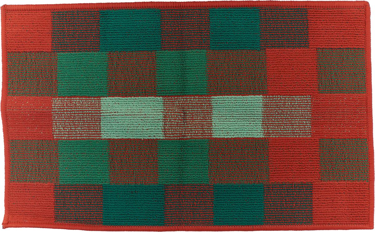 Коврик придверный Vortex Palermo, цвет: красный, зеленый, 50 х 80 см. 22454 коврик придверный vortex влаговпитывающий цвет коричневый 50 см х 80 см