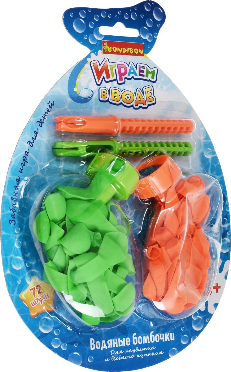 Bondibon Игрушка для ванной Играем в воде Водяные бомбочки цвет зеленый оранжевый 72 шт bondibon игрушка для ванной играем в воде утенок цвет желтый