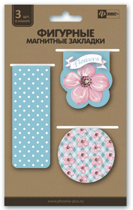 Феникс+ Закладка для книг Нежные цветы цвет голубой белый розовый 3 шт