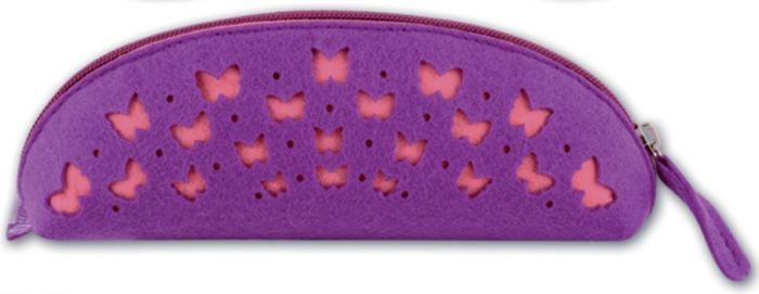 пенал органайзер для мелочей феникс презент бабочки 25 х 20 см Феникс+ Пенал Розовые бабочки на фиолетовом 1 отделение цвет фиолетовый 43375
