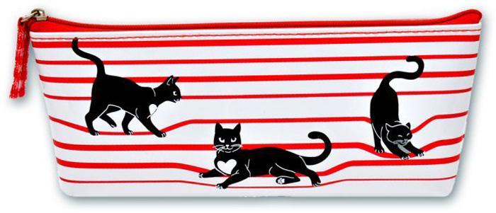 """Пенал Феникс+ """"Коты"""", 1 отделение, цвет: белый, красный, черный. 46335"""