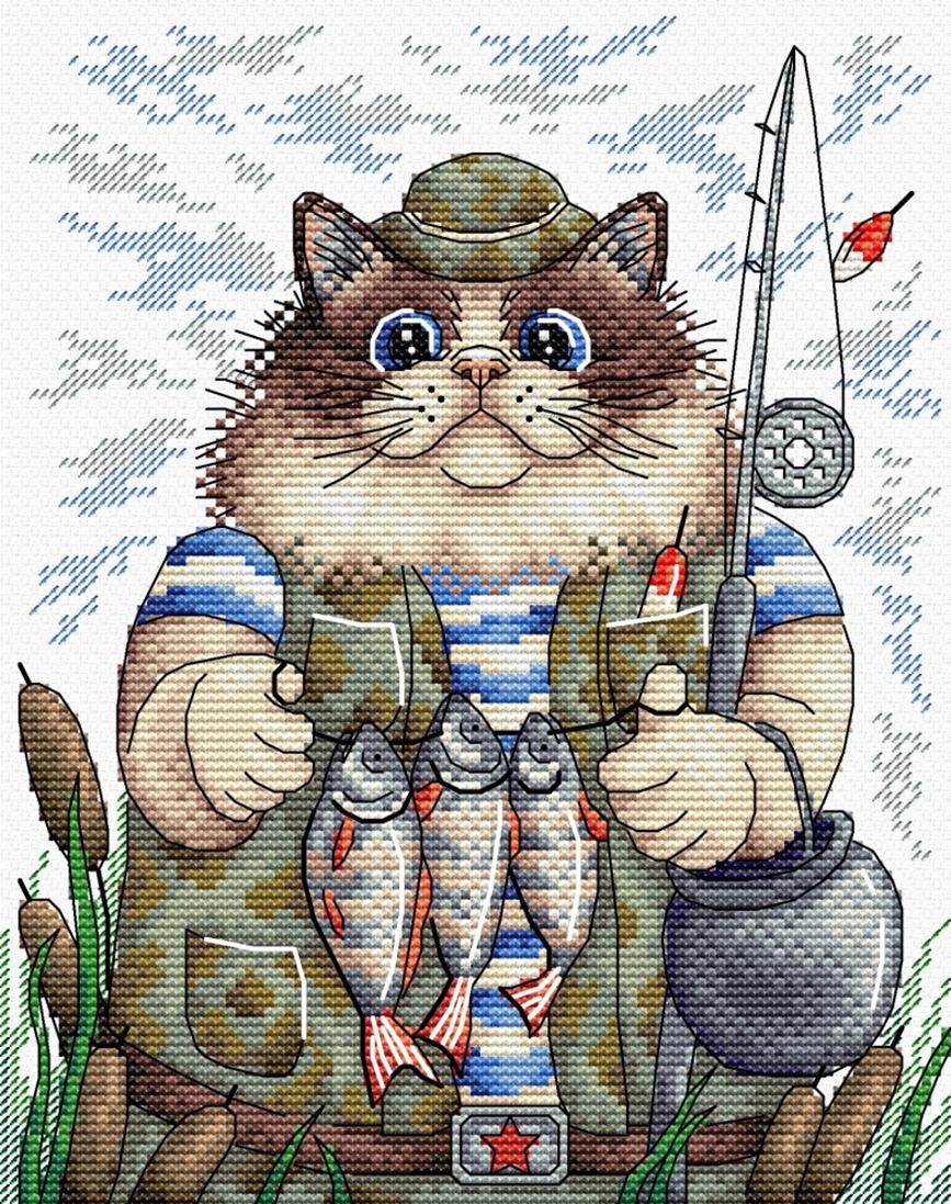 """Набор для вышивания крестом М.П.Студия """"Охота на рыбку"""", 22 х 17 см"""