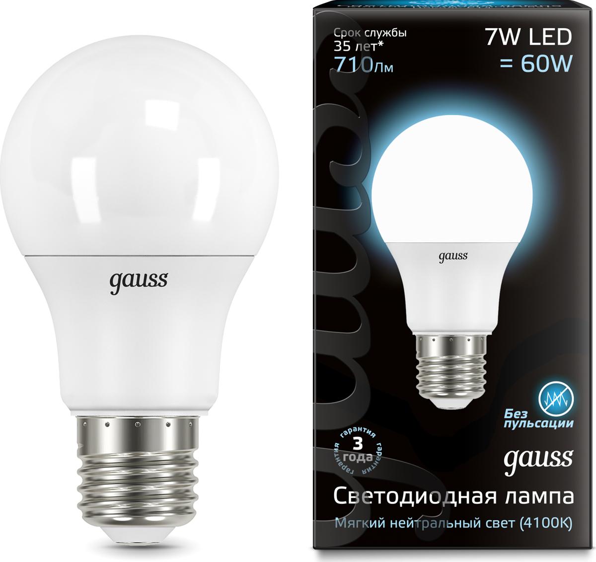 "Лампа светодиодная Gauss ""LED"", A60, E27, 7W, 4100K, 1/10/40"