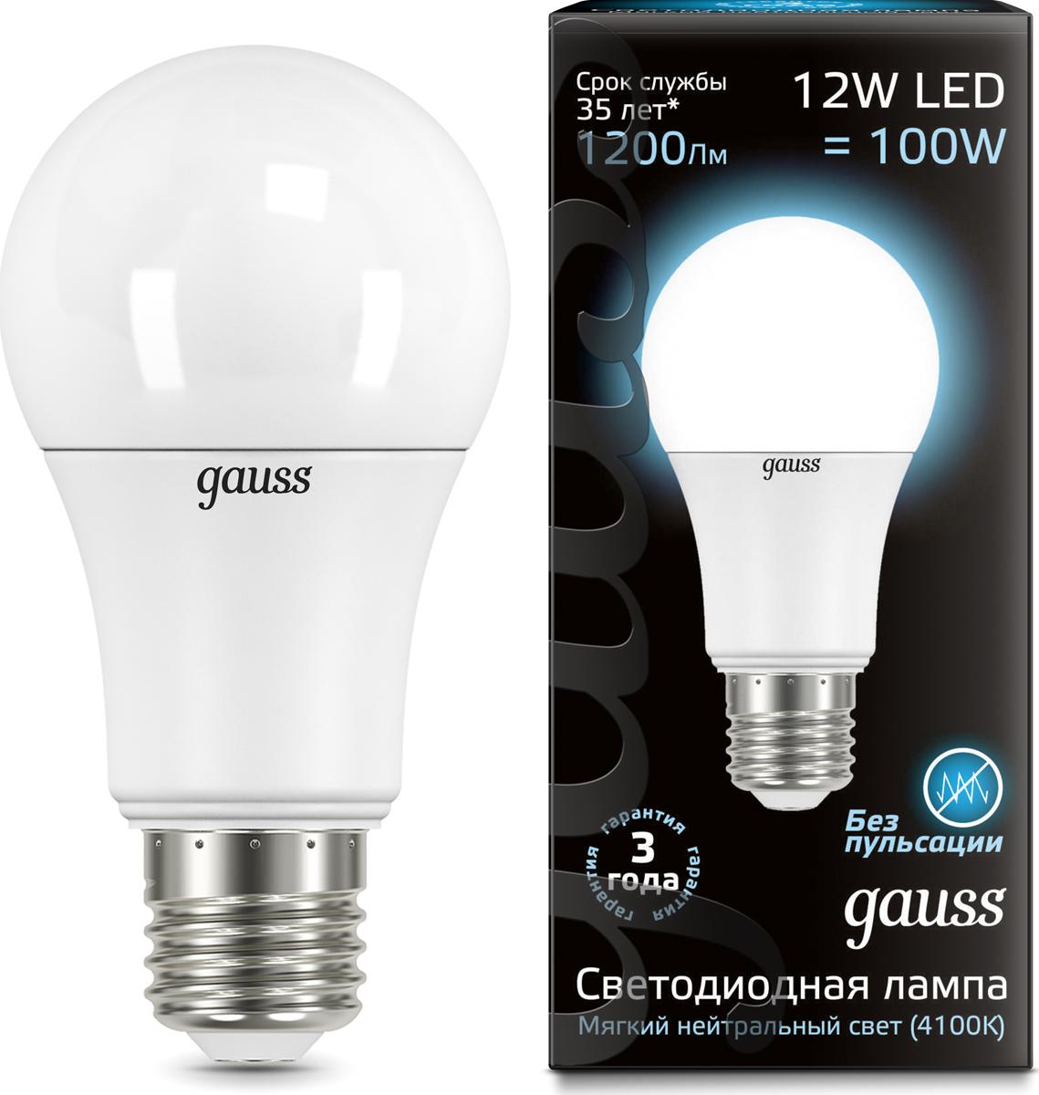 """Лампа светодиодная Gauss """"LED"""", A60, globe, 12W, E27, 4100K, 1/10/50"""