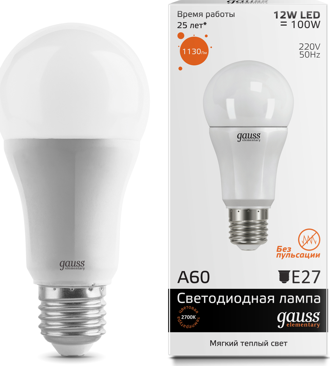 "Лампа светодиодная Gauss ""LED Elementary"", A60, 12W, E27, 3000K, 1/10/40"